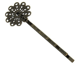 10pcs-Bobby Pins Filigree Antique Bronze With Round Pads .