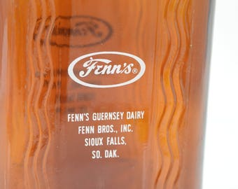 Vintage Brown Glass Half Gallon Milk Bottle Jug Fenn's Dairy Sioux Falls SO. DAK. w. original Mellow - D Cap and Handle