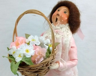 Vintage Byers Choice Handmade Caroling Doll Brown Haired Girl Pink Lace Dress Holding Flower Basket