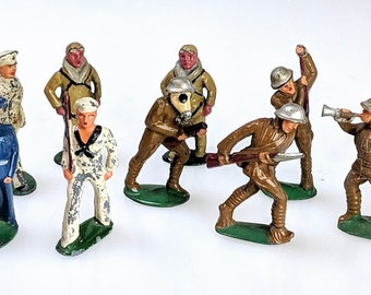 3ca93381d5e Vintage Lot of 9 Barclay Manoil Lead Toy Marching Band Fighting Army  Soldier Figures Original Paint WW1 Era Ref 20045