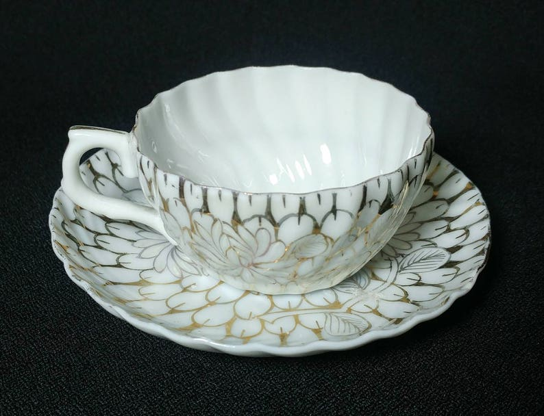Translucent China Cup and Saucer Beautiful Swirled Fluted Pattern Design is all Gilding Unmarked 3 Dia Cup Ref 19516