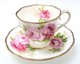 Beautiful Royal Albert American Beauty Roses Tea or Coffee China England Cup and Saucer Ref. 19665
