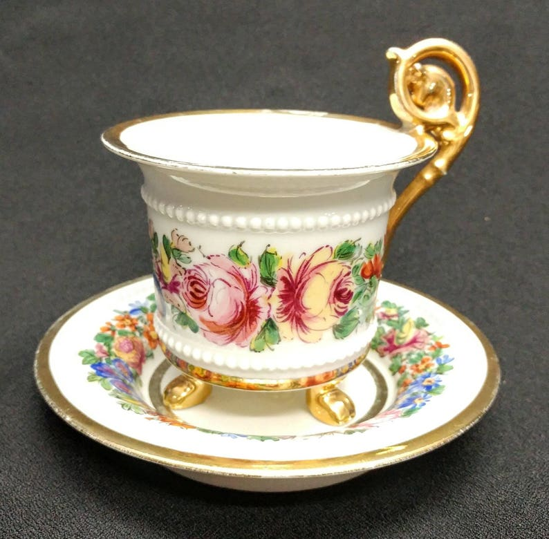 19th Century French Sevres Hand Painted Large Cabinet Cup and Saucer Floral Gold Gilt Pattern Crossed L S Mark France 18903