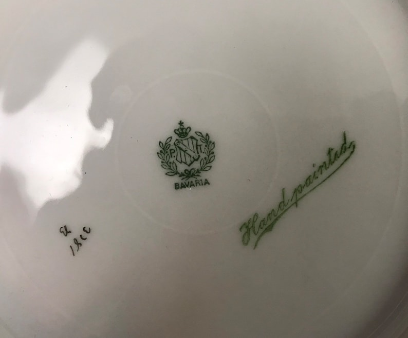 Tirschenreuth Bavaria Hand Painted White Pink Roses Cabinet Plate Wall Hanger ref 21154 T 8-38 Vintage Signed #3781 P