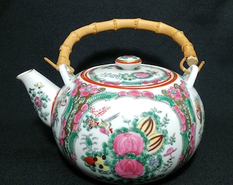 Vintage Hand Painted Floral Japanese Ball Teapot with Bamboo Handle Ref. 19538