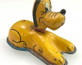 Vintage Pluto The Dog Push Toy Linemar Tin Litho Toys 1950s Disney Display Only Japan Ref 21856