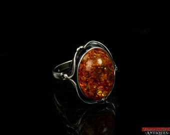 Vtg Oval Translucent Baltic Amber Art Nouveau Style Sterling Silver Ring 8.5 F1X