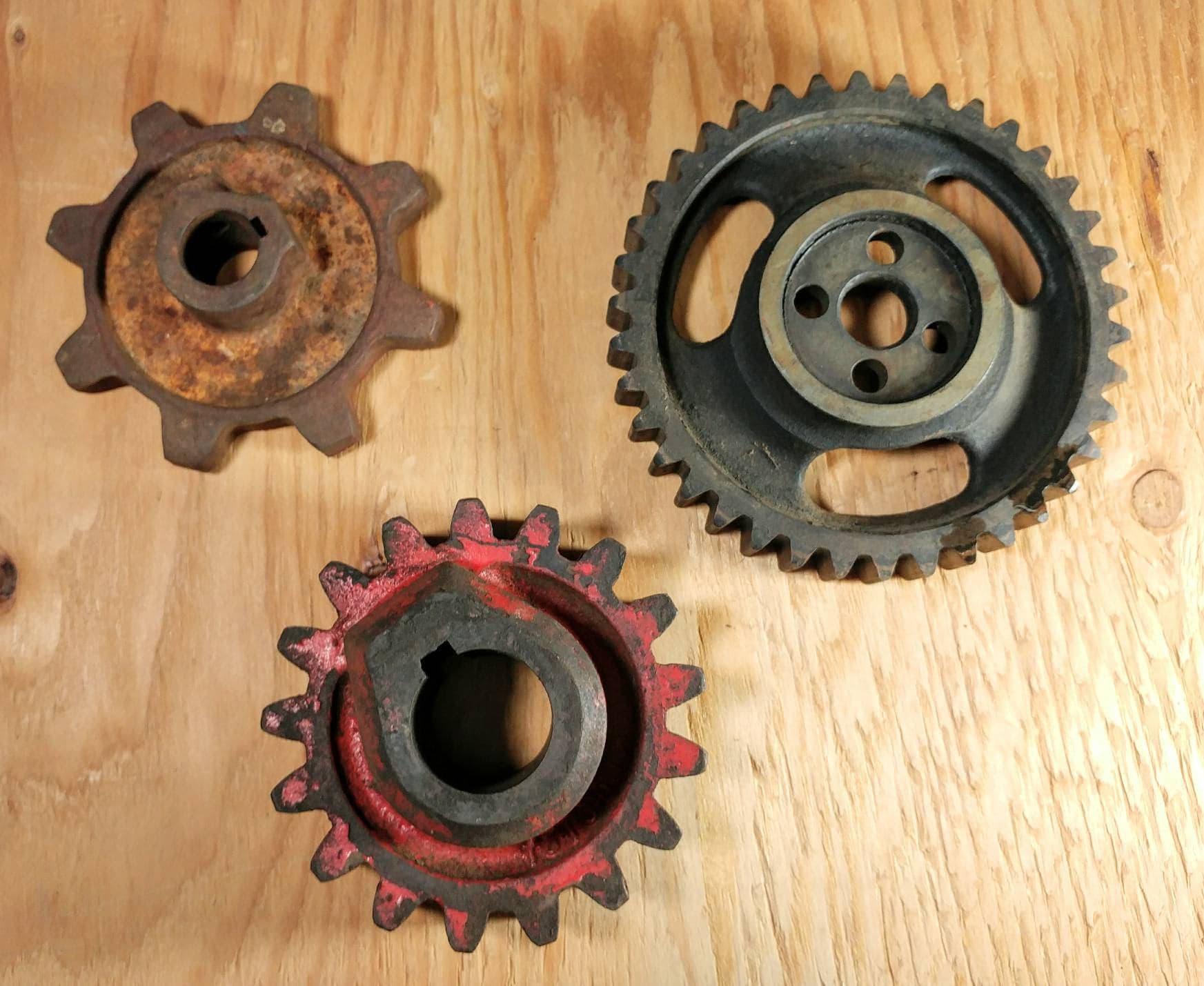 "Two Industrial steampunk cast iron gear sprocket lamp base project 4 1//4/"""