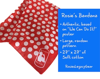 "Rosie the Riveter Bandana / Rosie Headband / Rosie Headscarf with Red and White Polka Dots. Rockabilly. Full Size ""We Can Do It"" Bandanna"