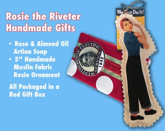 Rosie the Riveter Handmade Gifts: Artisan Soap (fresh Rose and Almond Fresh scent) and Muslin Fabric Ornament You Can Show Off All Year