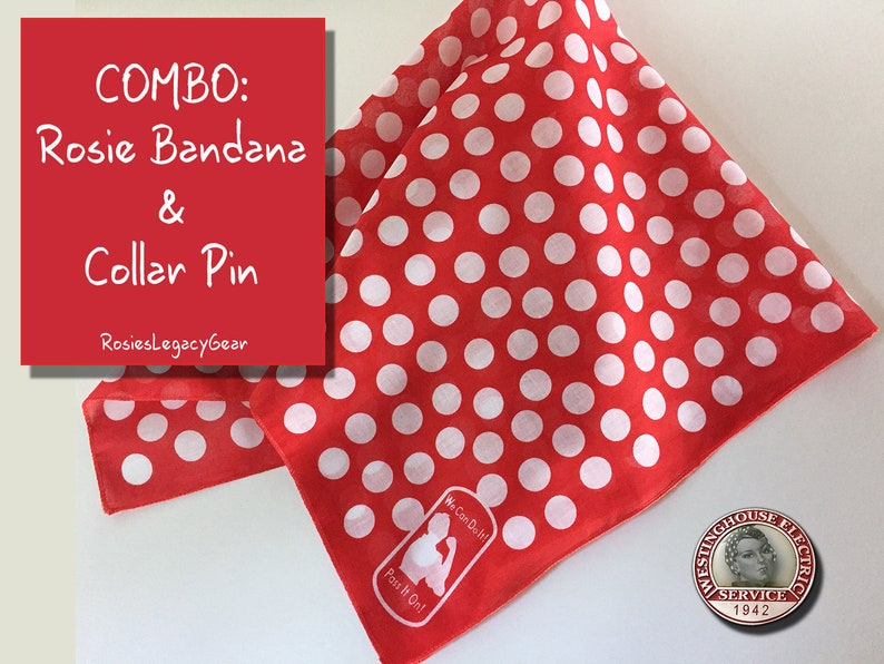 Rosie the Riveter BANDANA and Collar PIN Combo. We Can image 0