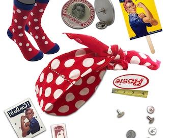 Be ROSIE the RIVETER DELUXE Costume Kit. Polkadot Bandana, Enamel Collar Pin, Rosie Socks, Name Patch, Tattoos, Rosie Cookbook.