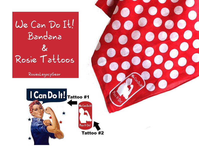 Rosie the Riveter Bandana and 2 Rosie the Riveter Temporary image 0