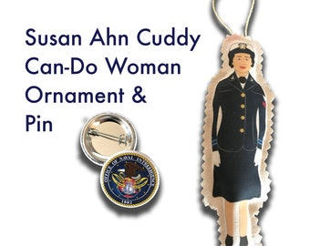 Inspiring Can Do Historical Doll - Susan Ahn Cuddy - First Asian American Female in the Navy - WW2 - Unique Drawing
