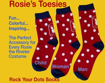 "Rosie the Riveter Socks - Red & White Polkadots.  When You Want to Show Your ""We Can Do It!"" Attitude. Gift socks. Fashion. RtR26"