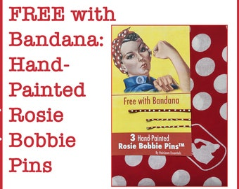 """Rosie the Riveter Bandana  Rosie Headscarf Rosie Headband. FREE GIFT With  Red and White Polka Dots. """"We Can Do It"""" Bandanna."""