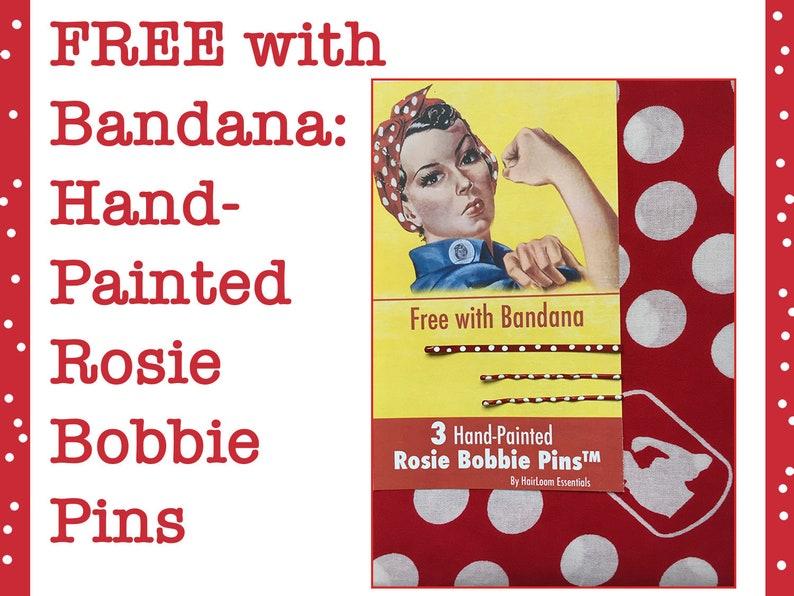 Rosie the Riveter Bandana  Rosie Headscarf Rosie Headband. image 0