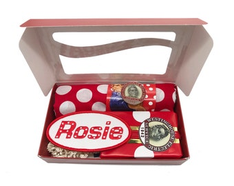 Rosie the Riveter in a Box. Feminist Empowerment, Artisan Soap, Polkadot Bandana, Enamel Collar Pin, Embroidered Name Patch
