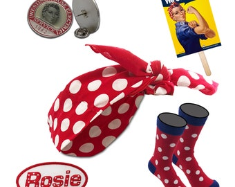 Be ROSIE the RIVETER Costume Accessories. Polkadot Bandana, Enamel Collar Pin, Rosie Socks, Name Patch, 2-Sided Hand Poster