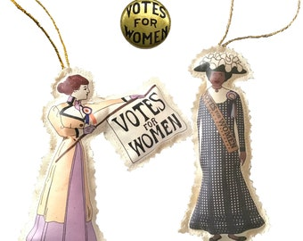 Cloth Ornament - 2 Suffragettes and Gold Votes for Women Button. Suffrage Gift Box. Suffragists as Ornaments. Handmade.