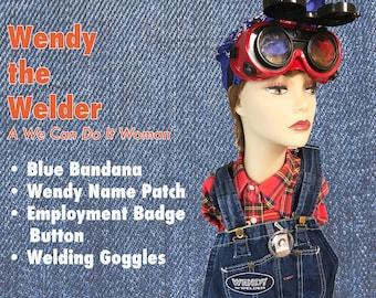 Rosie the Riveter's cousin--WENDY THE WELDER Halloween Costume Kit. 1940s WW2 Costume / Dress Up Accessories.