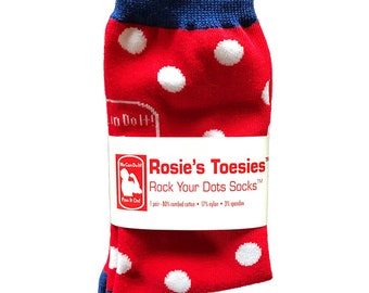 """ROSIE the RIVETER SOCKS. Red with White Polkadots. Feminist Gift. Wear your """"Can Do"""" Attitude. Fashion Socks. Gift Socks."""