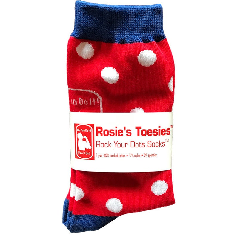 ROSIE the RIVETER SOCKS. Red with White Polkadots.  Wear your image 0