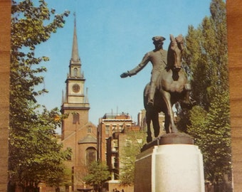 Old North Church Boston Postcard - Vintage 1960's Paul Revere Statue Mass USA