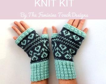 Fingerless gloves Knitting Kit , Valentine gift heart diy craft kit , fairisle stranded knitted diy knit gift for her , UK yorkshire yarn