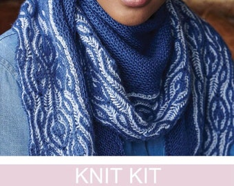 Shawl Knitting kit , 4 ply Brioche pattern and garter stitch , Falkland Wool & Mulberry Silk , Full instructions , Ladies stylish accessory