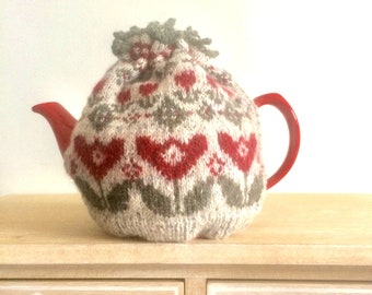 Knitted Tea  and Mug Cosy pattern , Tulip design , kitchen home decor instructions , knitters gift ,  pdf tutorial for hand knit tea cosie