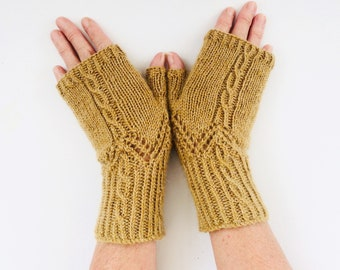 Fingerless gloves Knitting Kit , Instructions & UK West Yorkshire Spinners wool , diy craft kit , cable knitted diy knit gift for her