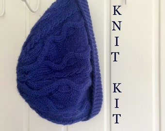 Blue Hat Knit Kit , 100% British Wool beanie hat, cable knitted outerwear, DIY craft knit , knitting gift for knitters Christmas knit