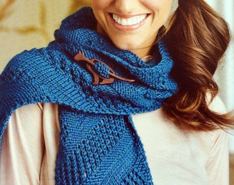 Lace scarf knitting pattern , sampler knitted scarf , ladies wear , hand knit accessory , lace tutorial , pdf instruction , blue scarf