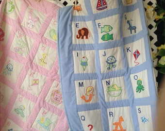 Pink or Blue ABC Baby Quilt