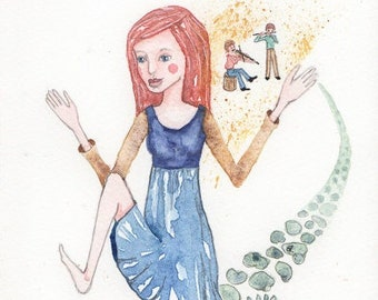 The Dancer, Music, Little People, Fairies, Original Watercolor Painting, OOAK