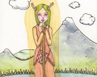 Deer Goddess, Totem art, Women in Boat, Greeting Card or Photographic Art Print