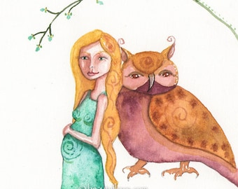 With Child and Owl Friend, Pregnant, Greeting Card or Photographic art print