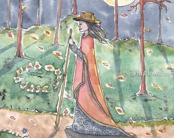 Night Walker, Fairy Ring, Full Moon Goddess, Greeting Card or Art Print