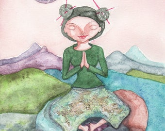 Woman in Prayer and Meditation, Greeting Card or Photographic Art Print