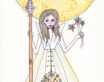 Little Miss Tipi, Her home is full of flowers and Light, Greeting Card or Photographic Art Print