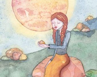 Meditates with Rocks, She Loves Rocks, Yogi and Gemstone, OOAK, Original Watercolor Painting