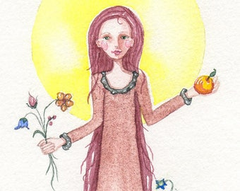 Blessing art, Summers Abundance, Fairy Tale,  Original painting or Greeting card, or Print
