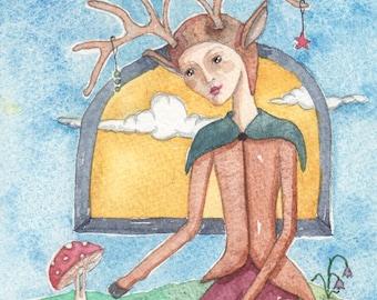 Faun Man and Little Yogi, OOAK, Original Watercolor Painting, Fantasy