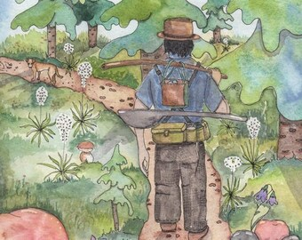 Hiking in the Forest, Fisherman, Greeting Card or Art Print