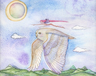 Snowy Owl and Fairy Friend Take Flight,  Painting