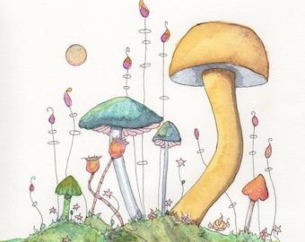 Magical Fungi Realm, Art Print or Greeting Card