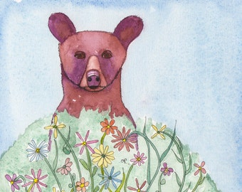 Black Bear in Wildflowers, Photographic art print or greeting card