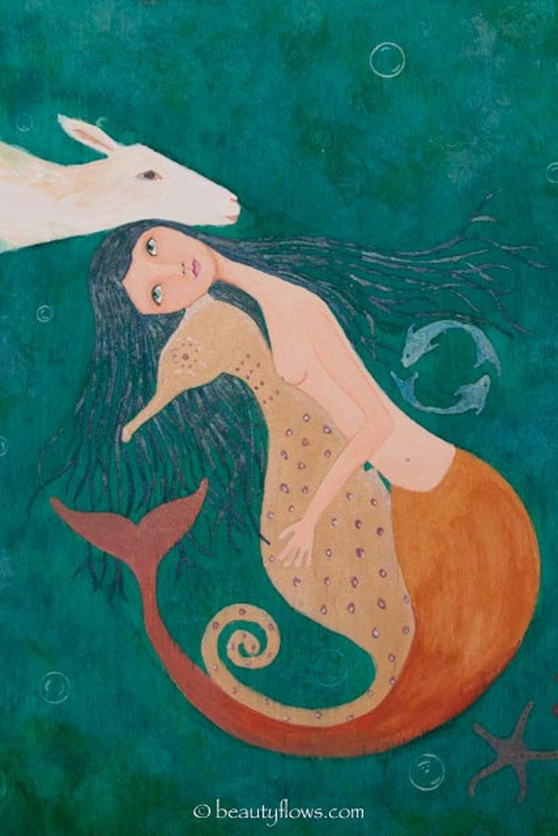 Pisces Mermaid and Seahorse Family of Friends Magical Ocean image 1