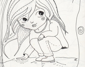 Forest Girl, Little Miss in the Woods, Spider, Ink Drawing, Whimsy Delight, Greeting Card to Inspire Smiles